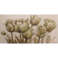 Schilderij - Handgeschilderd - Tulpen Schets 150x60cm