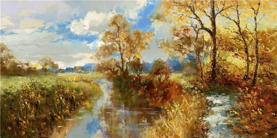 Schilderij - Handgeschilderd - Bos Beekje 3, 150x60cm