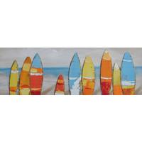 Schilderij - Handgeschilderd - Surfborden 150x60cm