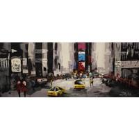 Schilderij - Handgeschilderd - Time Square 150x60cm