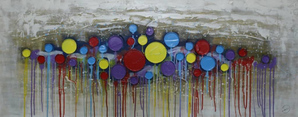 Schilderij - Handgeschilderd - Verfblikken Abstract 150x60cm