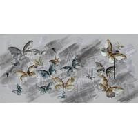 Schilderij - Handgeschilderd - Vlinders op krant 150X60cm