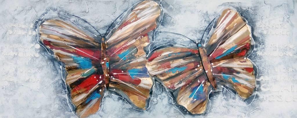 Schilderij - Handgeschilderd - Vlinders 2, 150x60cm
