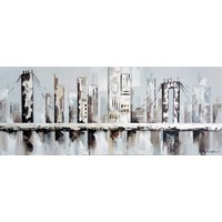 Schilderij - Handgeschilderd - Brooklin Bridge 3, 150x60cm