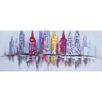 Schilderij - Handgeschilderd - Skyline 2, 150X60cm