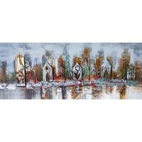 Schilderij - Handgeschilderd - Skyline 3, 150x60cm