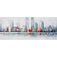 Schilderij - Handgeschilderd - Skyline 4, 150x60cm