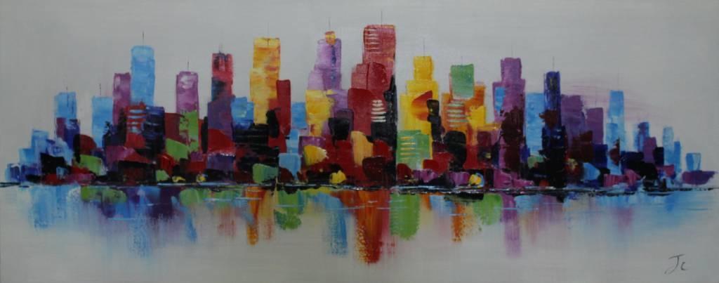 Schilderij - Handgeschilderd - Skyline 5, 150x60cm
