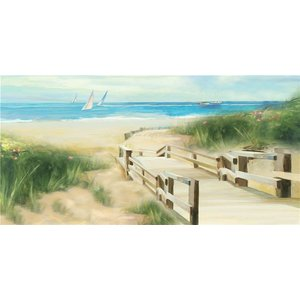 Schilderij - Handgeschilderd - Strand pad 150x60cm