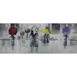 Schilderij - Handgeschilderd - Wandeling in de regen 150x60cm