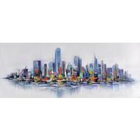 Schilderij - Handgeschilderd - Skyline 7, 150x60cm