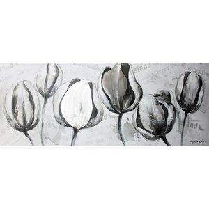 Schilderij - Handgeschilderd - Tulpen 150x60cm