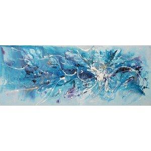 Schilderij - Handgeschilderd - Abstract in blauw 150x60cm