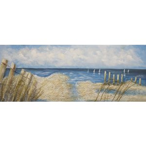 Schilderij - Handgeschilderd - strandtafereel 150x60cm