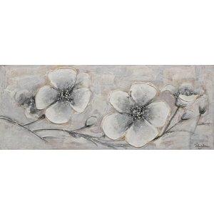 Schilderij - Handgeschilderd - Grijze kersenbloesem 150x60cmx