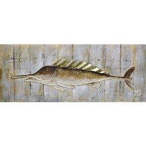 Schilderij - Handgeschilderd - Vis aan de muur 150x60cm