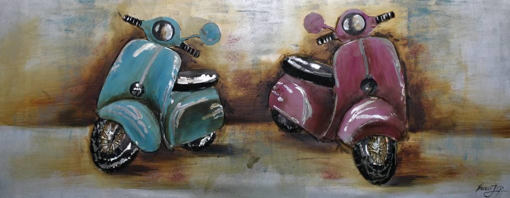 Schilderij - Handgeschilderd - Retro scooters 150x60cm