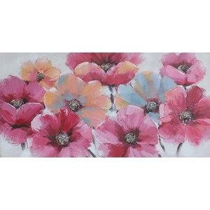 Schilderij - Handgeschilderd - Roze bloemen 150x60cm