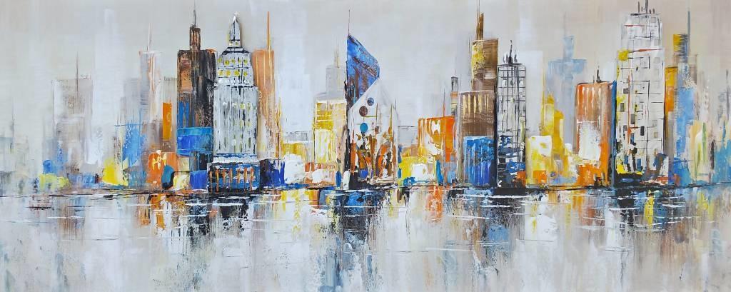 Schilderij - Handgeschilderd - Skyline 8, 150x60cm