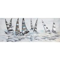 Schilderij - Handgeschilderd - Zeilboten race 150x60cm