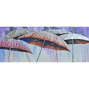 Schilderij - Handgeschilderd - Paraplu's 150x60cm