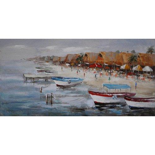 Schilderij - Handgeschilderd - Op vakantie 150x60cm