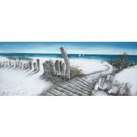Schilderij - Handgeschilderd - Strand pad 2, 150x60cm