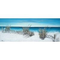 Schilderij - Handgeschilderd - Uitzicht op zee 150x60cm