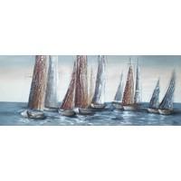 Schilderij - Handgeschilderd - Zeilboten op zee 150x60cm