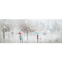 Schilderij - Handgeschilderd - Wandeling in Parijs 150x60cm