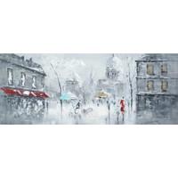 Schilderij - Handgeschilderd - Grijze ochtend 150x60cm