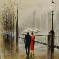 Schilderij - Handgeschilderd - In de regen 100x100cm