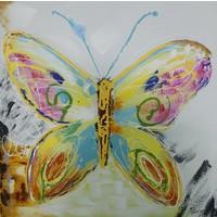 Schilderij - Handgeschilderd - Vlinder 2 100x100cm