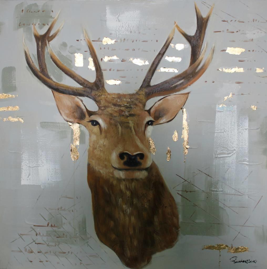 Schilderij - Handgeschilderd - Hert 2 100x100cm
