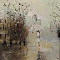 Schilderij - Handgeschilderd - In de regen 2 100x100cm