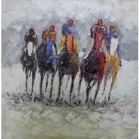 Schilderij - Handgeschilderd - Paardenrace 100x100cm