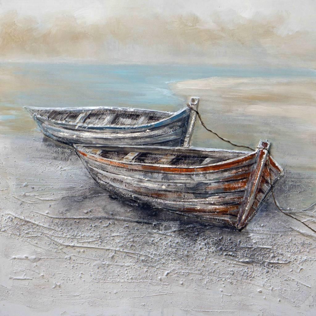 Schilderij - Handgeschilderd - Roeiboten 2 100x100cm