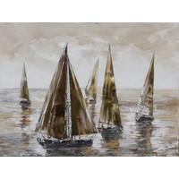 Schilderij - Handgeschilderd - Zeilboten 2 100x100