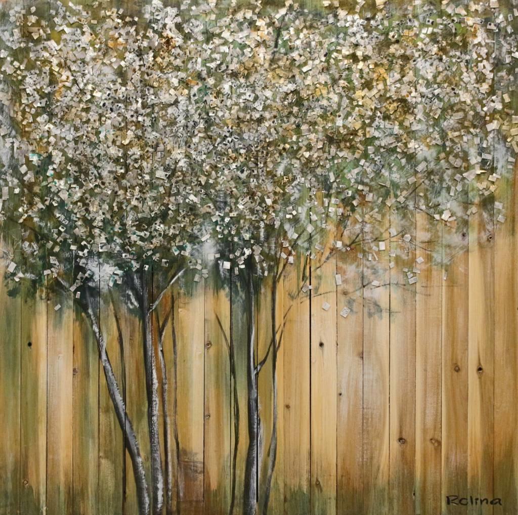 Schilderij - Handgeschilderd - Boom op hout geschilderd 100x100cm