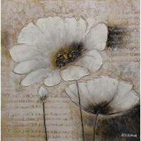 Schilderij - Handgeschilderd - Klaprozen 3 100x100cm