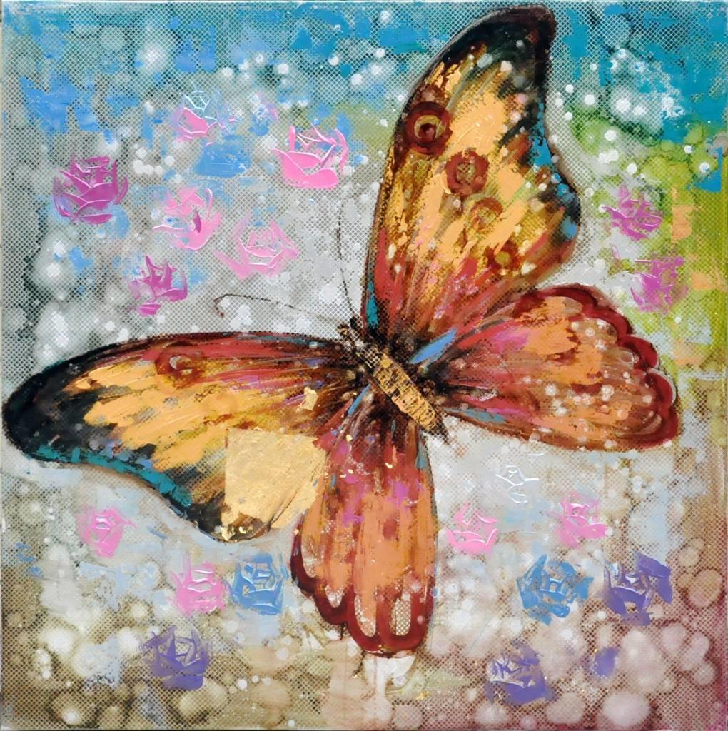 Schilderij - Handgeschilderd - Vlinder 3 100x100cm