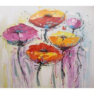 Schilderij - Handgeschilderd - Klaprozen 4 100x100cm