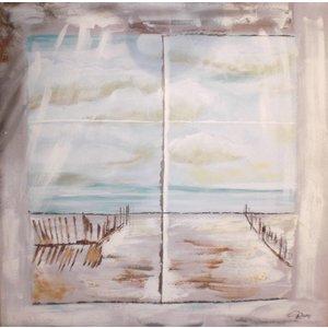 Schilderij - Handgeschilderd - Uitzicht op Noordzee 100x100cm