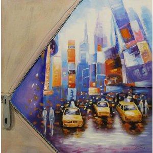 Schilderij - Handgeschilderd - Gele taxi abstract, NYC, 100x100cm