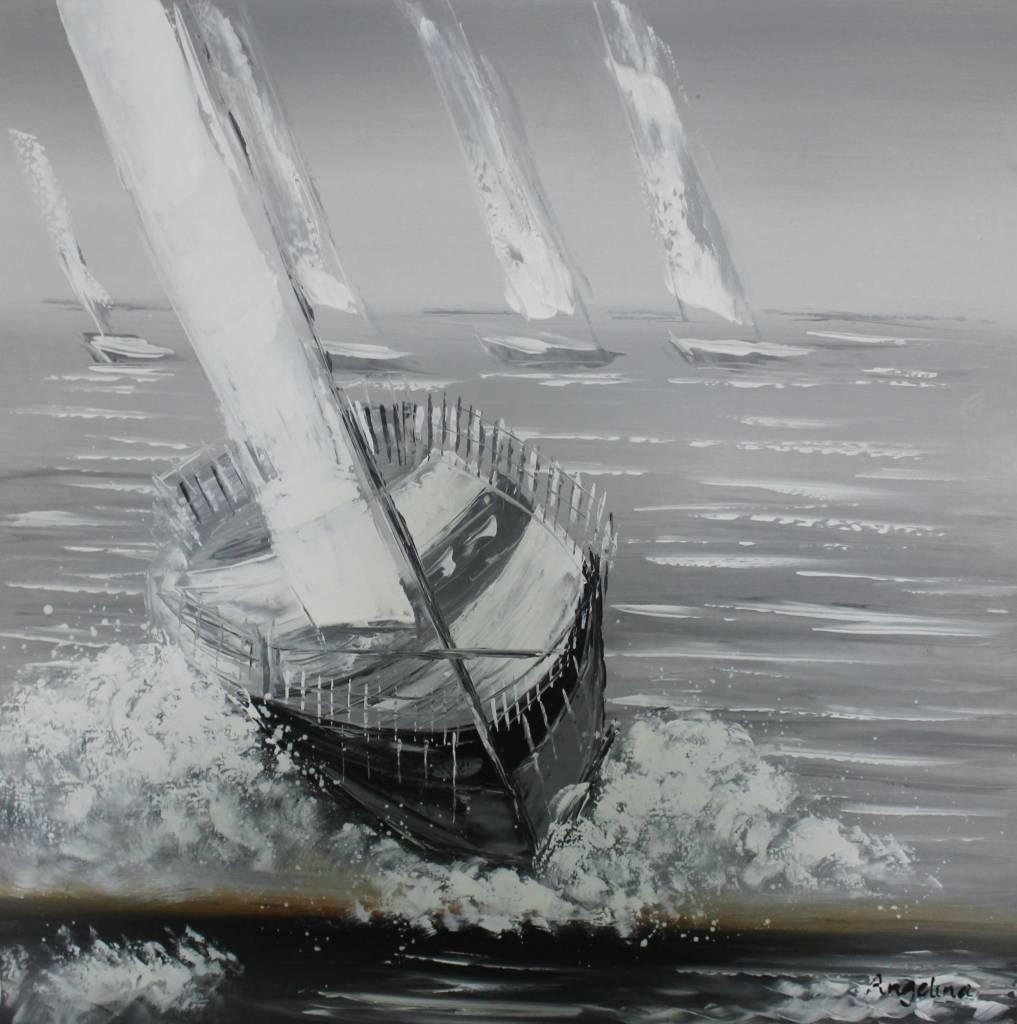 Schilderij - Handgeschilderd - Zeilboten race 2 100x100cm