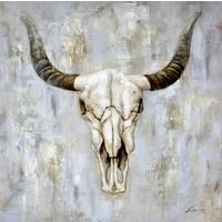 Schilderij - Handgeschilderd - Schedel 100x100cm