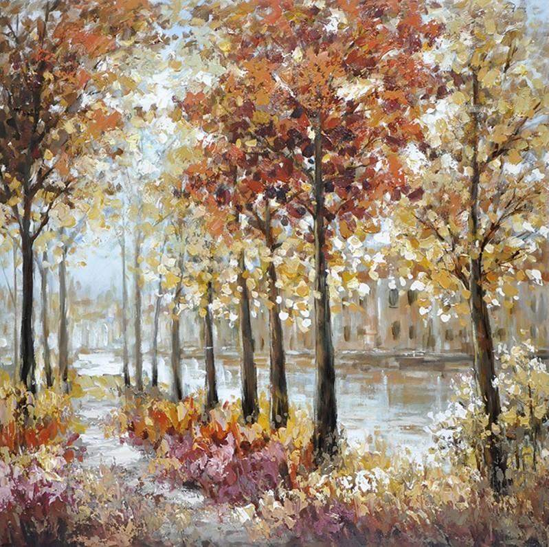 Schilderij - Handgeschilderd - Wandeling 100x100cm