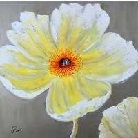Schilderij - Handgeschilderd - Gele bloem 100x100cm
