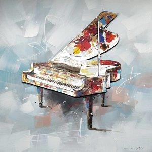 Schilderij - Handgeschilderd - Piano 100x100cm