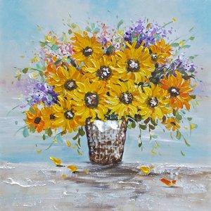 Schilderij - Handgeschilderd - Stilleven, bloemen 100x100cm